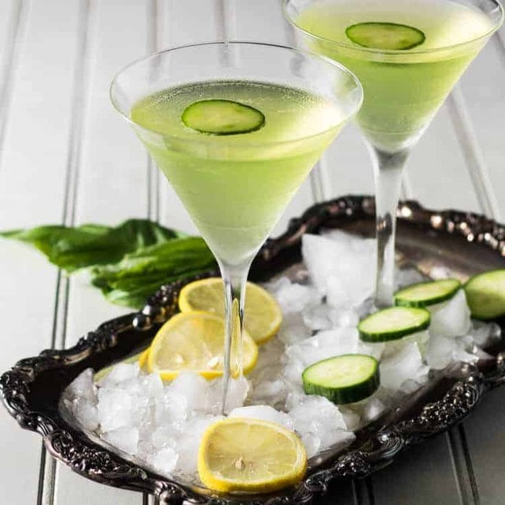 Lemon Cucumber Martini With Fresh Basil