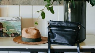 shelves with hat and purse