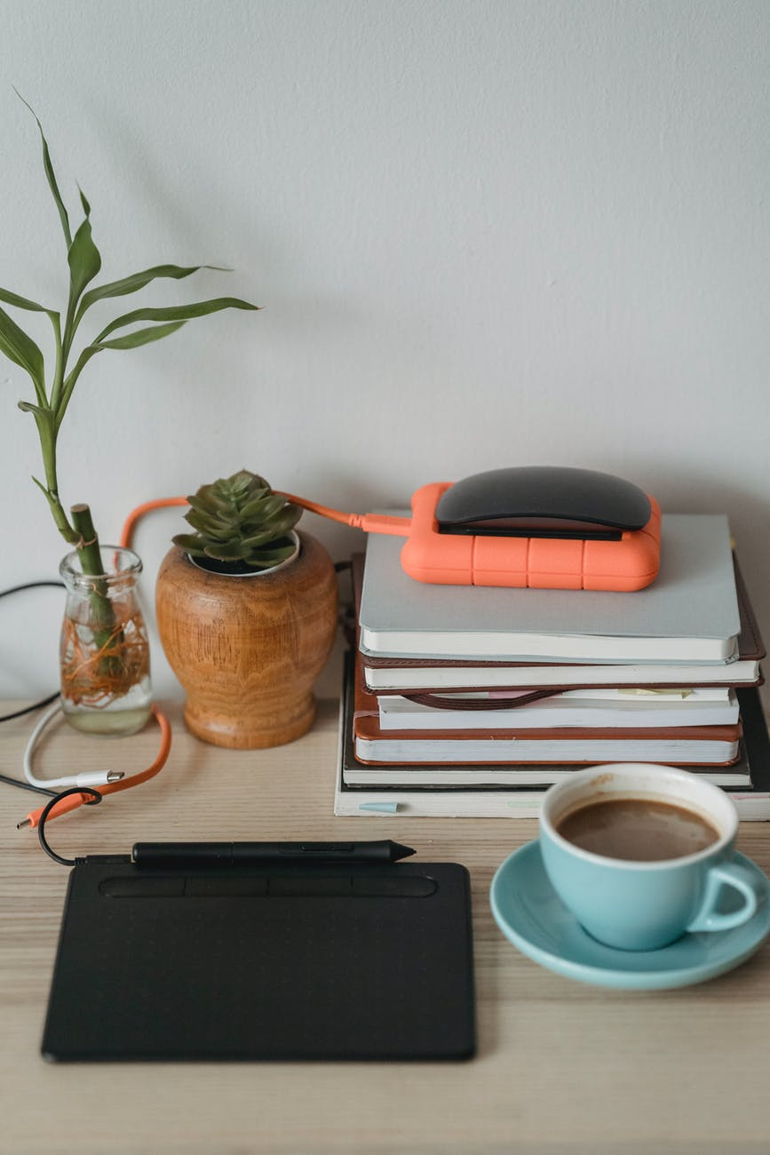 graphic tablet and plants near cup of coffee and notebooks