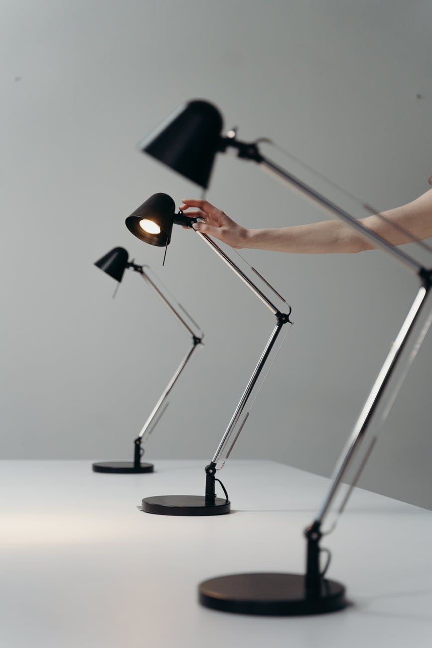 black lamps on a table