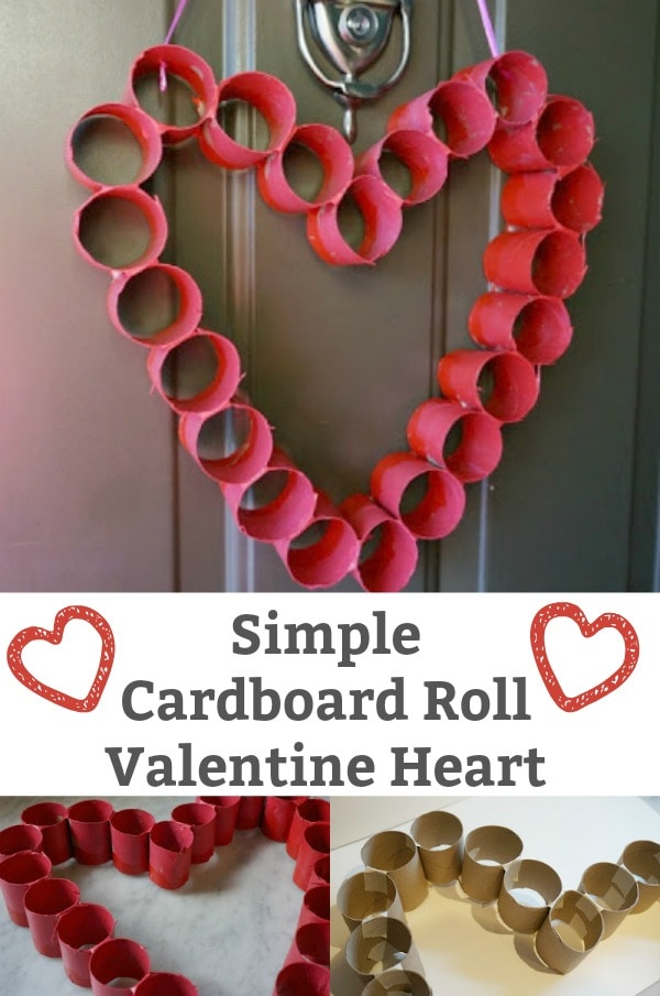 Cardboard Roll Valentine Heart for the Front Door