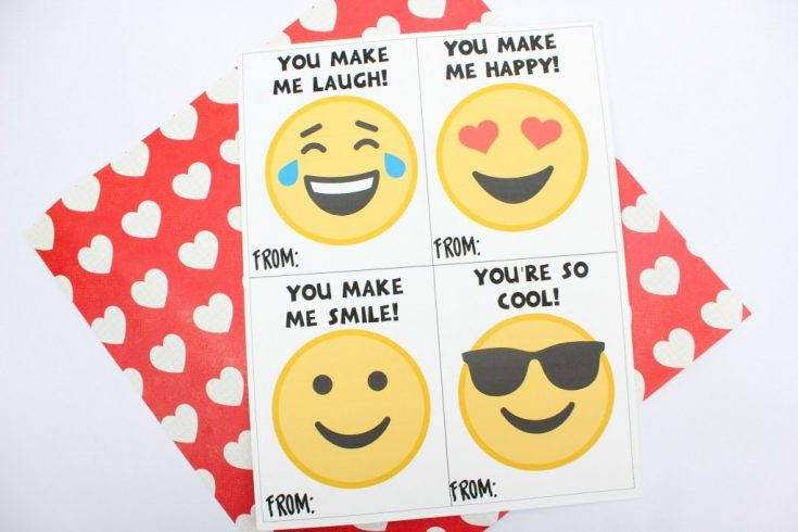 Printable Emoji Valentine's Day Cards